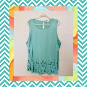 Mint Suede-like Sleeveless Top w/Laser Cutouts